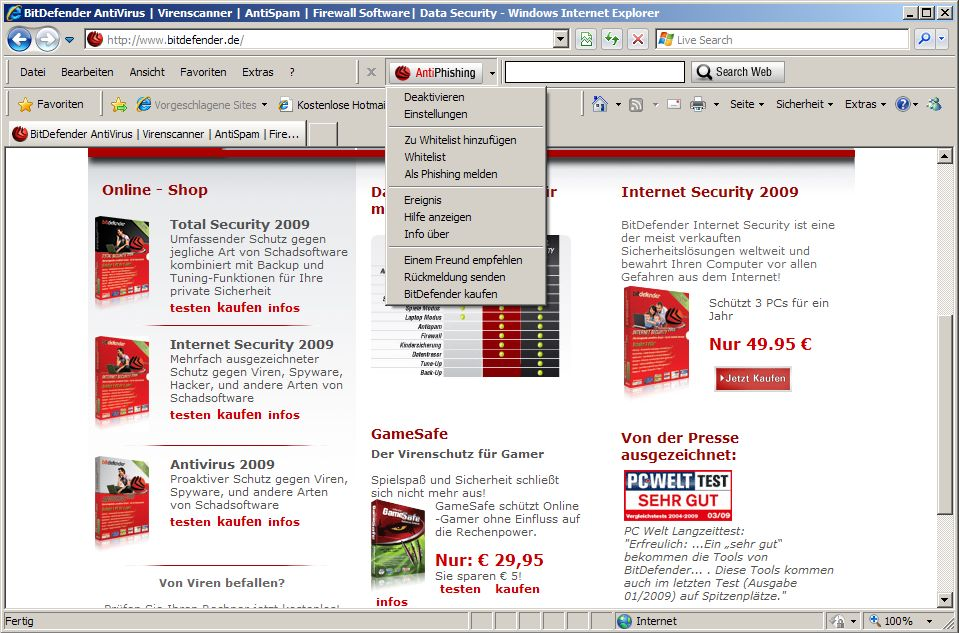 Screenshot vom Programm: BitDefender Anti-Phishing Free Edition