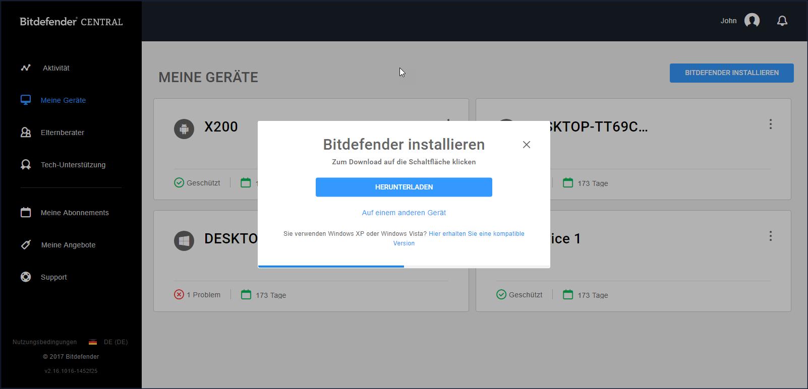 Registrierung und Installation des neuen Bitdefender 2018